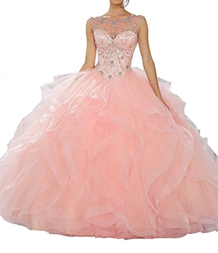 JinJia Long Prom Dress Tulle Scoop Neck Beaded Quinceanera Dresses Sweet 16 Girls 0 US Pink