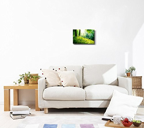 Spring Nature Beautiful Landscape with Green Grass and Trees Wall Decor