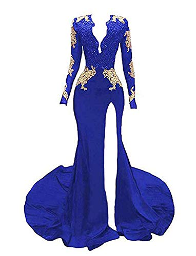 (TTYbridal V-Neck Sexy Prom Dress Mermaid Evening Dresses Long Sleeve Appliqued Formal Gown P24 Royal Blue 8)