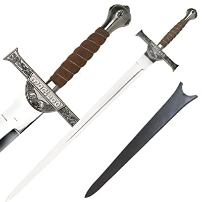 The Highlander Movie Replica Sword with Case and Engraved Cross Guard, Rain Guard