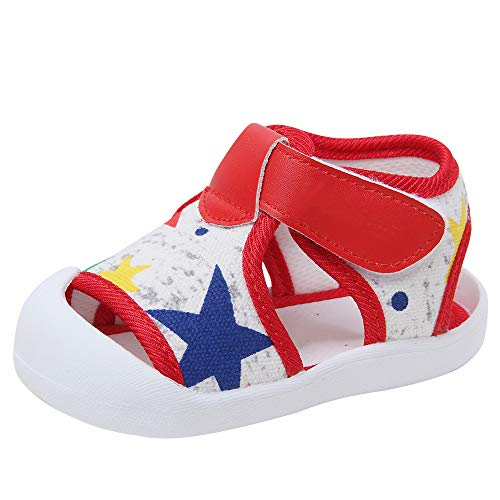 Baby Summer Sandals Breathable Mesh Rubber Sole Non-Slip Outdoor Shoes for Boys and Girls 9-30 Months (15(Inside length-12.1cm)(12-15months), Red-1)