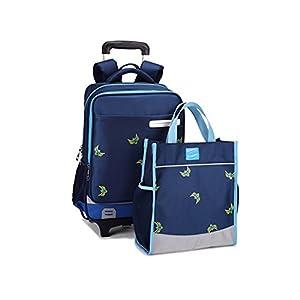 Dikley Rolling Backpack School Kids Rolling Backpack 2 Flash Wheels Cute Waterproof Wheeled Backpack with Handbag for School Girls Boys Kids (Blue)