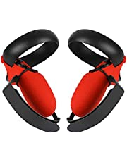Esimen Touch Controller Grip Cover for Oculus Quest/Rift S Wrist Strap Anti-Throw Handle Protective Sleeve Suit (Red Cover+Strap)