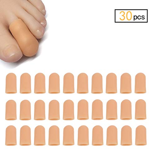 (30 Pieces Gel Toe Caps, Silicone Toe Protector, Toe Covers, Protect Toe from Rubbing, Ingrown Toenails, Corns, Blisters, Hammer Toes and Other Painful Toe Problems (Small,Beige))