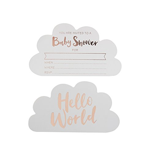 Ginger Ray Rose Gold Cloud Shaped Baby Shower Invitations 10 Pack - Hello World