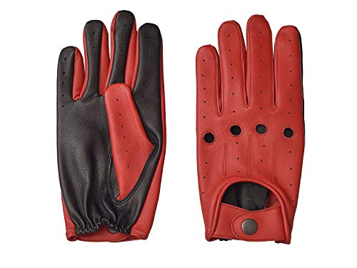 (Men's Two-Tone Unlined Leather Driving Gloves in Red and Black (Small))