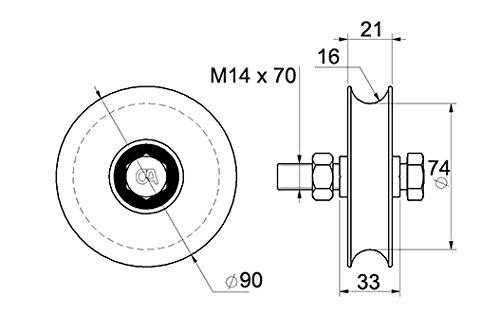 Laufrolle f/ür Schiebetore /Ø90 mm mit 16 mm Rundnut runde Laufrille