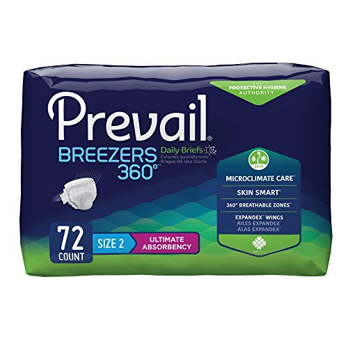 Prevail Breezers 360 Ultimate Absorbency Incontinence Briefs, Size 2, 72-Count