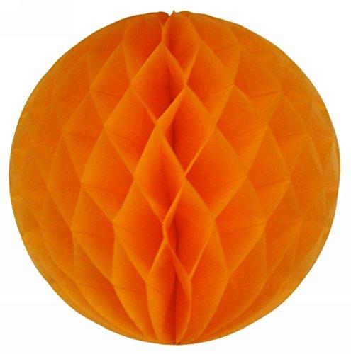 SUNBEAUTY 6(15cm) Pack of 5 Orange Color Tissue Paper Honeycomb Balls Wedding Decoration Birthday Baby Shower Bridal Shower