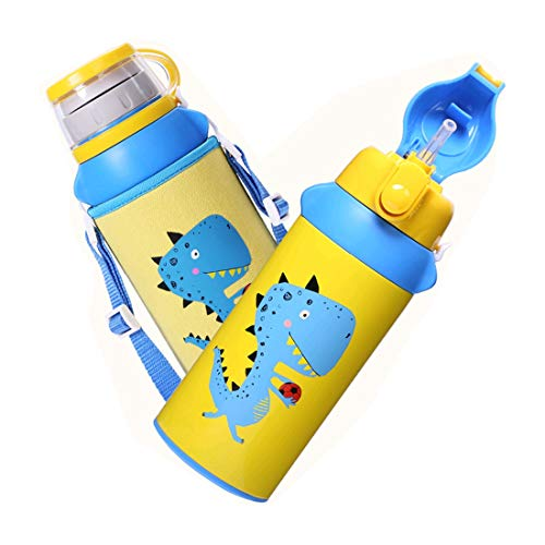 Sanry Children Water Bottle with Two Caps,Vacuum Insulated S