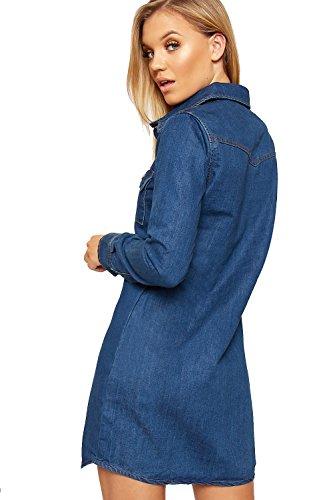 Longue Bouton Par Bleu Femmes Collier Mini WEARALL 42 34 De Toile Dames Chemise Jean Manche Haut Robe Pq7zwa7xd