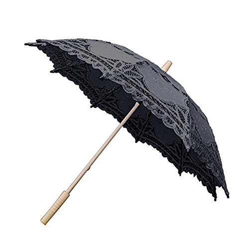 big-time Lace Parasol Umbrella,Handmade Compact White/Black/Beige Wooden Handle Dome Umbrella Classic Decorative Umbrella for Weddings Decoration,Bridesmaid,Girls,Photo Props and Garden Party -