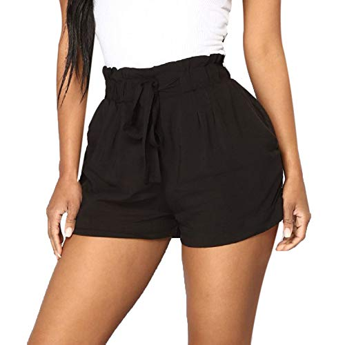 Seamount Women's High Waist Wash Cotton Elegent Casual Strap Shorts Pants Summer (Black, M)