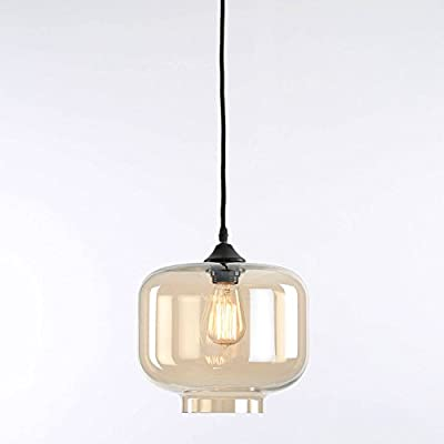 Boerum Tinted Glass Single Bulb Pendant with Vintage Filament Bulb Included