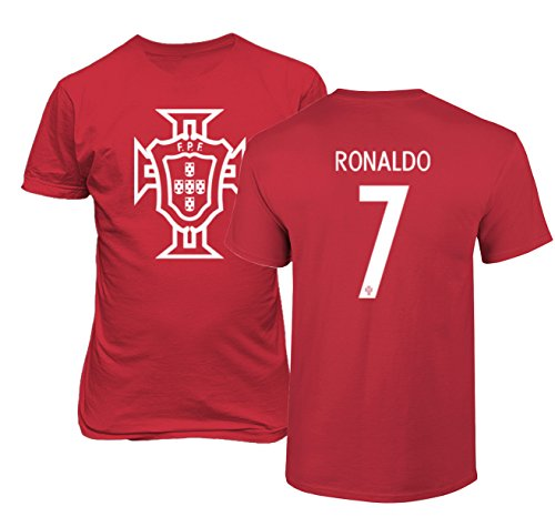 Cristiano Ronaldo T-shirts - Tcamp Portugal 2018 National Soccer #7 Cristiano RONALDO World Championship Boys Girls Youth T-Shirt (Red, Youth Large)