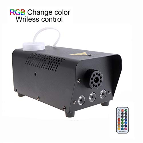Hi'shion 2019 Upgraded 500W Portable Haze Fog Machine with Multi-color LED Lights &2Wireless Remote Control Huge Fog Fast Heating Professional Haze Smoke Maker Chiller Fog Ejector Generator for Party