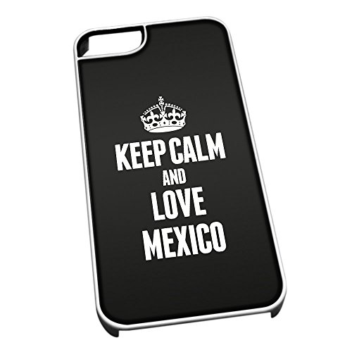 Bianco cover per iPhone 5/5S 2240 nero Keep Calm and Love Mexico