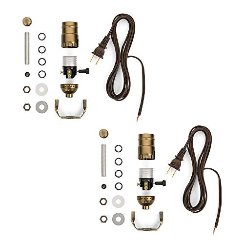 Lamp Making Kit - With a Lamp Wire Kit You Can Make a Brand New Lamp From Scratch - Antique Brass Socket - 8 Foot Brown Cord - DIY Lamp - Lamp Kit Hardware