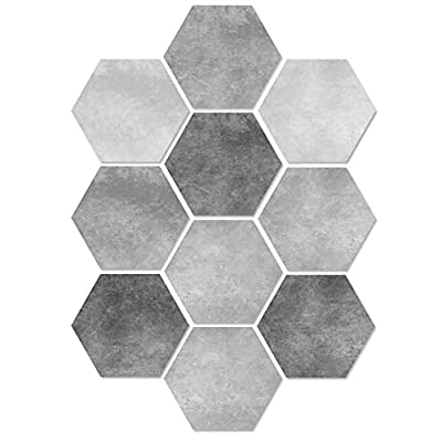 ZBB 10 PCS Hexagonal Floor Stickers Kitchen Bathroom DIY Mosaic Tile Stickers Wear-Resistant Floor Sticker Wall Sticker2023CM(7.879.06Inch)