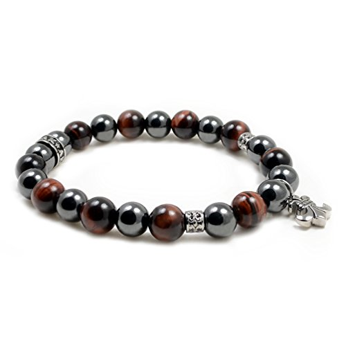 (Accents Kingdom Men's 10MM Fleur De Lis Magnetic Hematite Red Tiger Eye Bead Bracelet 8.5