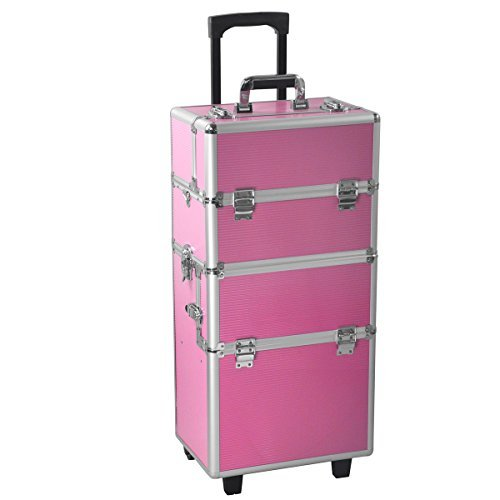 (Yaheetech Multicolor Professional 2 in 1 Makeup Beauty Case Cosmetics Technician Case Trolley (Pink))