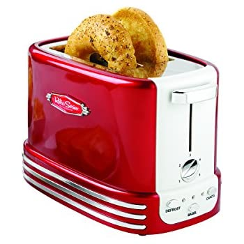 Nostalgia RTOS200 New and Improved Wide 2-Slice Toaster, Perfect For Bread, English Muffins, Bagels, 5 Browning Levels, With Crumb Tray & Cord Storage - Retro Red