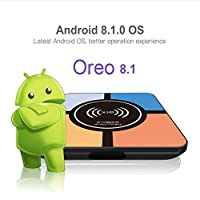 Android 8.1 TV Box,Andorid Box with Wireless Charging Function 4GB 32GB RK3328 64 Bits Smart TV Box Support 2.4G WIFI 3D 4K