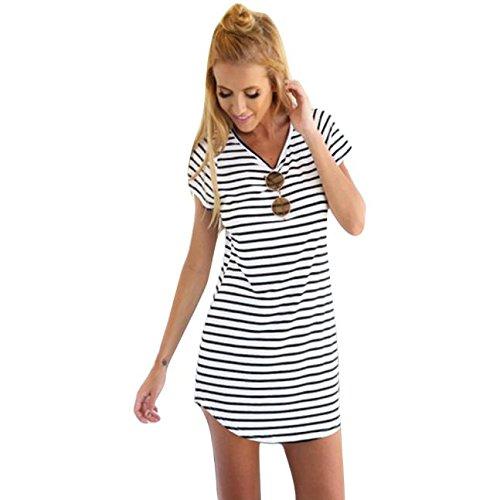 NOMENI Women Crew Neck Short Sleeve Striped Loose T-Shirt Mini Dress (Large, White)