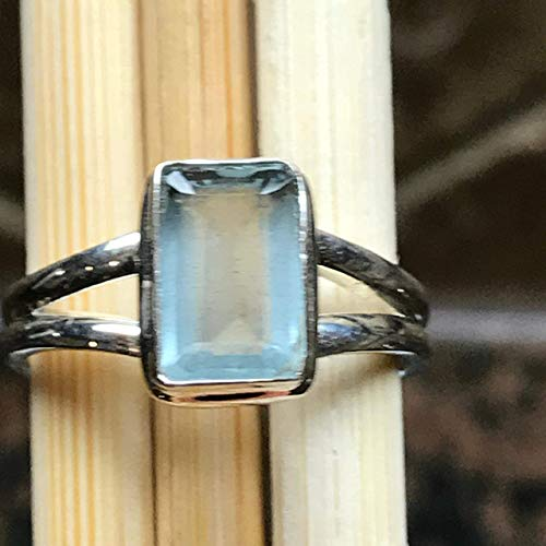 Natural 1.5ct Aqua Blue Aquamarine 925 Solid Sterling Silver Emerald Cut Unisex Ring sz 7.75
