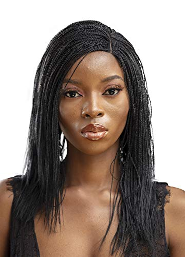 JBG Services Authentic African Braided Wigs - Micro Twist Wig for African American Women - Lace Closure Finishing for Natural-Look Hairline - 2 Hair Pins Included - 12 Inch, Jet Black Color 1