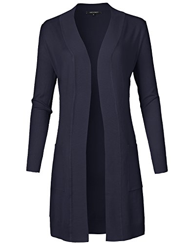 Solid Soft Stretch Longline Long Sleeve Open Front Knit Cardigan Navy Size S ()