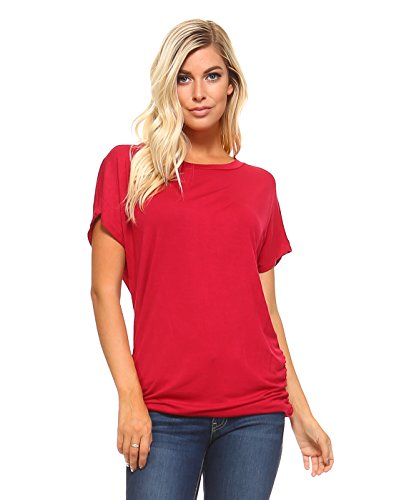 Boatneck Dolman Sleeve - Amie Finery Dolman Top With Side Shirring Oversize Batwing Sleeve Womens Tops Plus Size 1X Tango Red