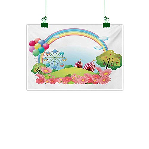 "Circus,Canvas Wall Art Picture Village Hill with Circus Tents Balloons and a Ferris Wheel Rainbow Colors Daisies Wall Canvas Painting Multicolor W 40"" x L 32"""