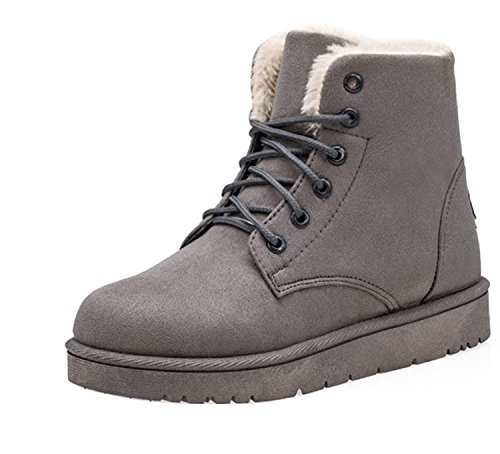 Gaorui Lace Color Women Faux Suede Shoe Ankle Warm Flat Winter Lining Fur Snow Gray Up Boots rqrwUt6d