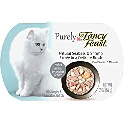 Purina Fancy Feast Purely Natural Seabass & Shrimp Entree Adult Wet Cat Food - (10) 2 Oz. Trays