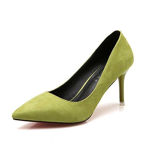 GAOLIM Presidente High-Heel Shoes Zapatos De Tacón Otoño E Invierno Zapatos De Mujer De Punta Fina Con Solo Zapatos Femeninos En Vista Del Alto-Heel Shoes 6-8Cm. El verde