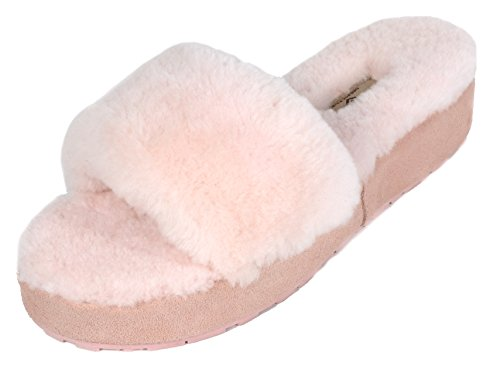 BLIZ 01 PAIRS Mules Fur Comfy Sheepskin DREAM Pink Women's Slippers Fluffy EFdwnv
