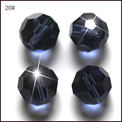 Pukido 50pcs Padparadscha Crystal Fashion DIY Bead Create Your Style Jewelry Glass Bead 8mm Fringe Round Shape AAA Quality - (Color: Dark Sapphire, Item Diameter: 8mm)