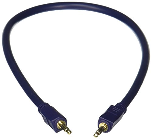 C2G 40600 Velocity 3.5mm M/M Stereo Audio Cable, Aux Cable, Blue (1.5 Feet, 0.45 Meters)