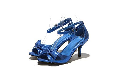 Amoonyfashion Mujer Solid Solid Material High-heels Hebilla Sandalias Open-toe Azul