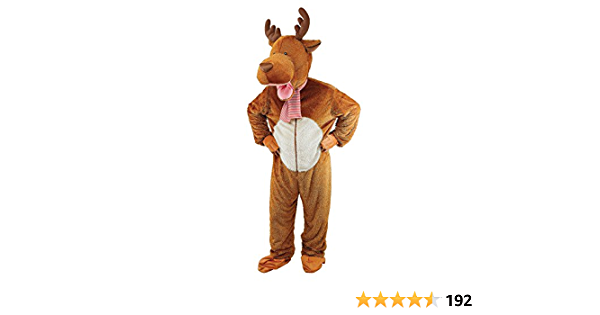 Adult Big Head Reindeer Costume Moose Fancy Dress Mascot Christmas Animal Outfit