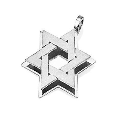 Matte and Polished 18k White Gold Star of David Pendant