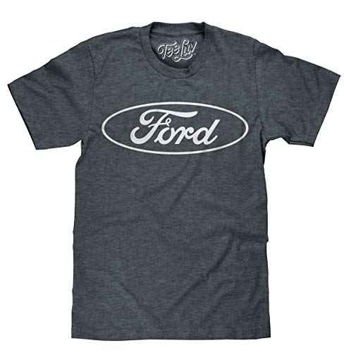 Tee Luv Ford T-Shirt - Licensed Ford Oval Logo Shirt (Indigo-Black) (Large)