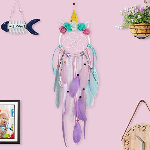 LAVAY Unicorn Dream Catcher Handmade Feather Flower Purple Dream Catcher for Kids Bedroom Boho Home Wall Hanging Baby Girls Nursery Decoration (Colorful Unicorn)