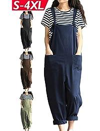 Women Plus Size Overalls Linen Wide Leg Jumpsuits Vintage...