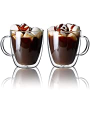 CnGlass Clear Glass Mugs Set of 2 Double Wall Glasses Mug with Handle, Insulated Espresso Mug Cups for Latte