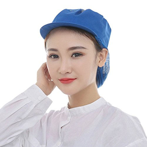 Jiyaru Mesh Women Chef Hat Catering Working Mesh Snood Hat Breathable Kitchen Cap (Woman With A Blue Hat)