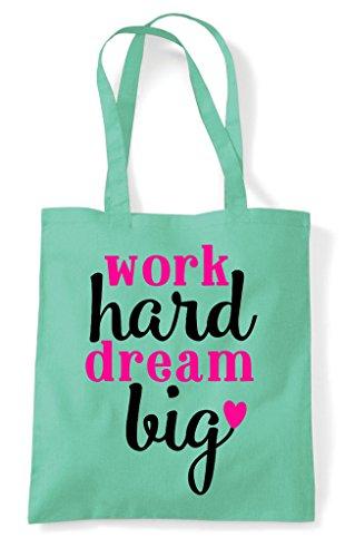 Big Statement Hard Work Shopper Tote Dream Bag Mint Motivational ZfvxxwHpIq