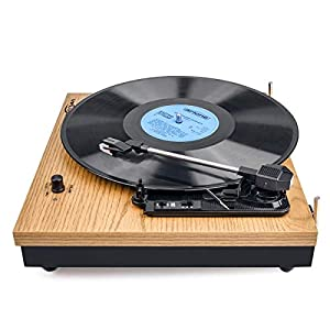 Record Player, VIFLYKOO Bluetooth Portable Vinyl Turntable and Digital Encoder Built-in 2 Stereo Loudspeaker and Belt Drive,Aux-In,RCA ,3 speed 33/45/78 RPM – Natural Wood