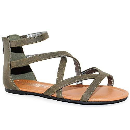 TRENDSup Collection Womens Flats Sandals (8.5, Olive)